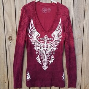 AFFLICTION | Vneck Fitted Thermal Style Sirt